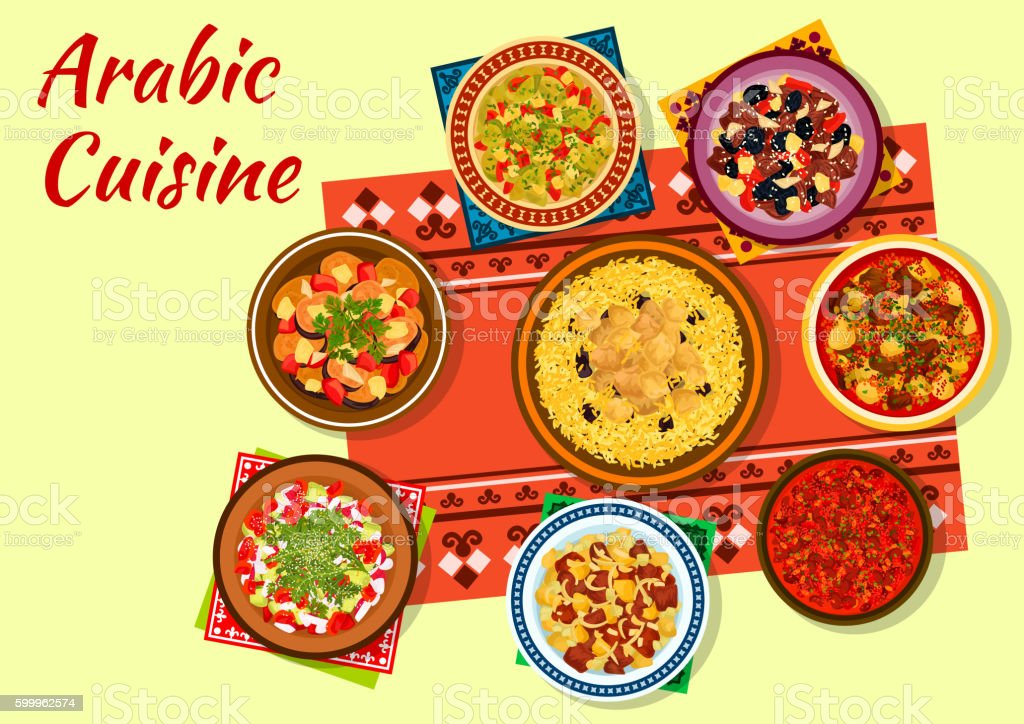 Arabic cuisine rich and flavorful dishes icon vector art illustration