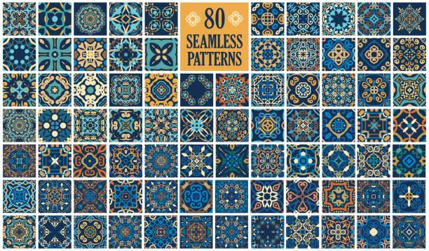ilustrações de stock, clip art, desenhos animados e ícones de arabic decorative tiles - mosaicos flores