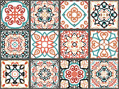 Vector tiles patterns. Seamless flourish backgrounds with blue red flower elements. Arabic decorative design for floor or wall. Square symmetrical ornament. Colorful weave oriental illustration.