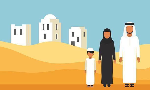 arabic family in traditional clothes in desert dunes - emirati woman 幅插畫檔、美工圖案、卡通及圖標