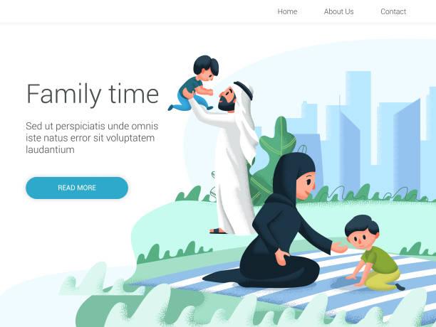 阿拉伯家庭在公園裡和孩子們玩耍。動畫片向量例證。家庭日, 慶祝。 - emirati woman 幅插畫檔、美工圖案、卡通及圖標