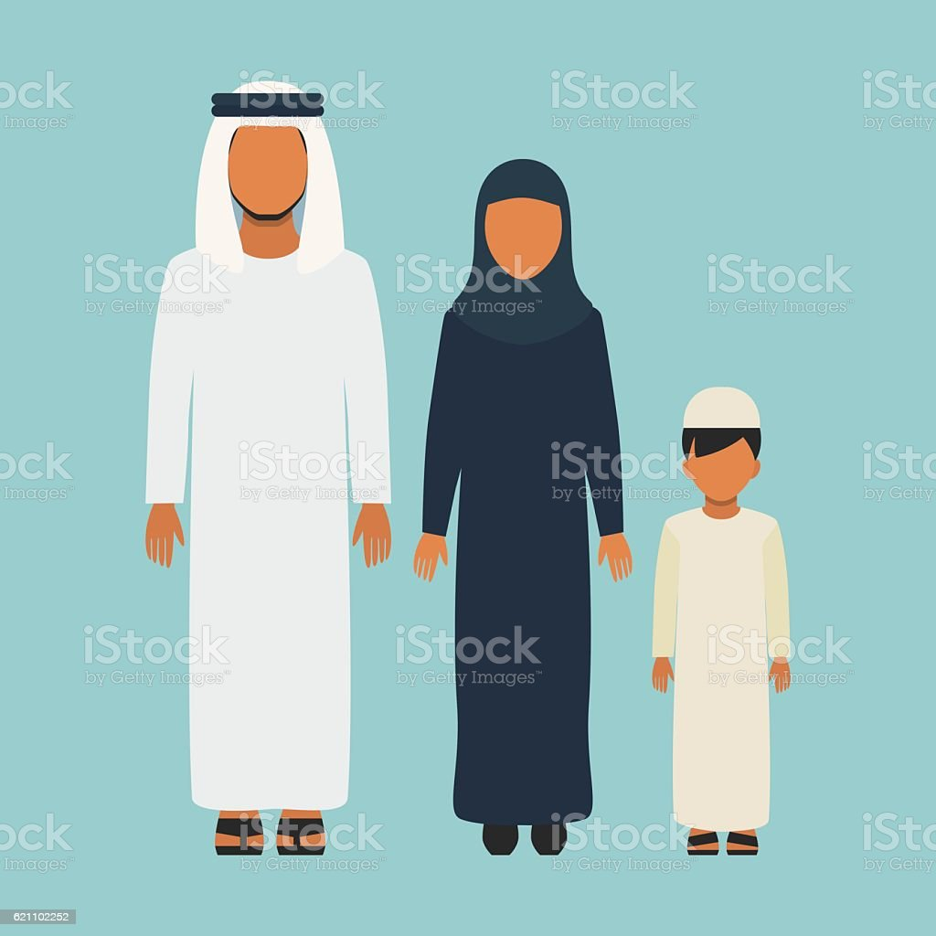 Arabic Family vector art illustration