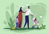 Arabic Family Walking with Children in Park Flat Cartoon Vector illustration. Family Day. Spending Time Together. Muslim Mother and Father Going with Baby Car or Pram and Son. Boy Holding Ball.