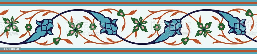 Arabic Floral Seamless Border. Traditional Islamic Design. Mosque decoration element. vector art illustration