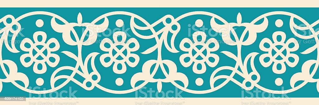 Arabic Floral Seamless Border. Traditional Islamic Design. Mosque decoration element. vector art illustration