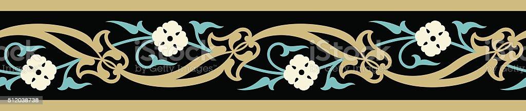 Árabe Floral Sem emenda fronteira - ilustração de arte em vetor
