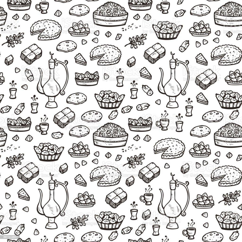 Arabic food vector background. Dishes for Iftar party Seamless Pattern. Halal food. Arabian cuisine. Ramadan Kareem vector art illustration