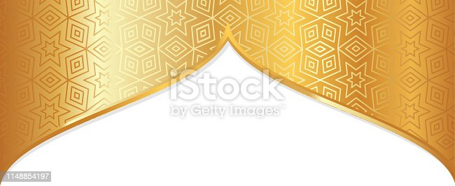 arabic golden pattern arch picture frame