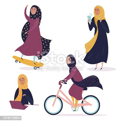 Muslim arabic girl in different situations, wearing hijab. Young contremporary, modern woman on skate, with phone and laptop, riding bicycle. Concept of equal rights and empower for all women. Be free