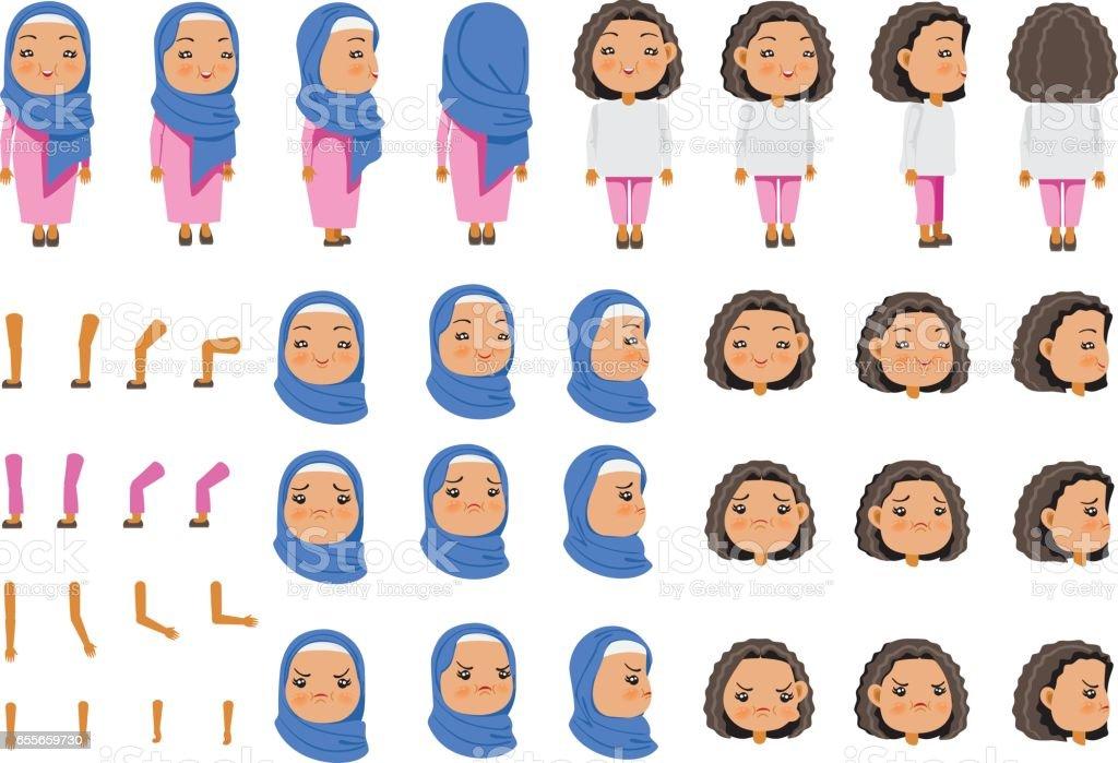 Arabic Girl vector art illustration