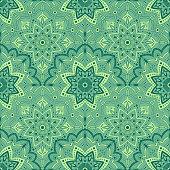 Arabic green pattern background. Turkish ottoman background vector. Mandala Seamless Pattern.