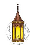 Arabic hanging lamp with chain, rays and burning candle.. For poster or banner Ramadan kareem. Vector black vintage engraving illustration isolated on a white background.