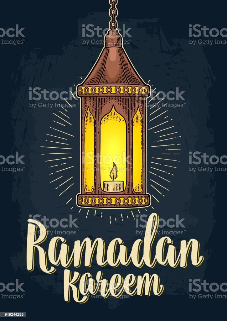 Arabic hanging lamp with chain. For poster Ramadan kareem. vector art illustration
