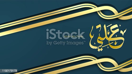 istock Arabic Hazrat Ali bin Abi Thalib greeting card template islamic vector design with paper cut style pattern arabic calligraphy and traditional ornament - Vector 1132173173