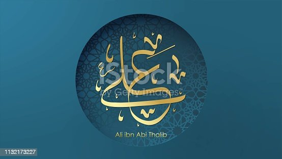 istock Arabic Hazrat Ali bin Abi Thalib greeting card template islamic vector design with paper cut style pattern arabic calligraphy and traditional ornament - Vector 1132173227
