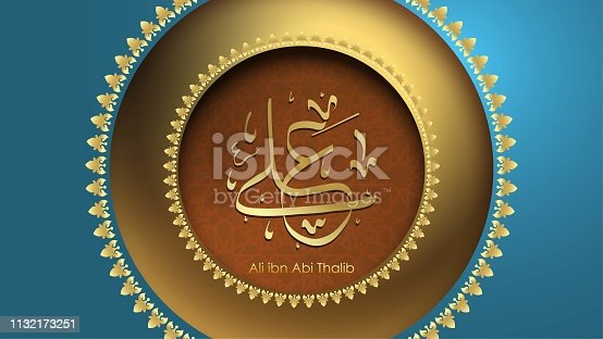 istock Arabic Hazrat Ali bin Abi Thalib greeting card template islamic vector design with paper cut style pattern arabic calligraphy and traditional ornament - Vector 1132173251