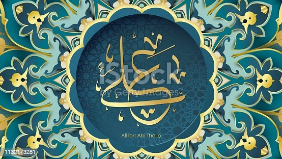 istock Arabic Hazrat Ali bin Abi Thalib greeting card template islamic vector design with paper cut style pattern arabic calligraphy and traditional ornament - Vector 1132173281