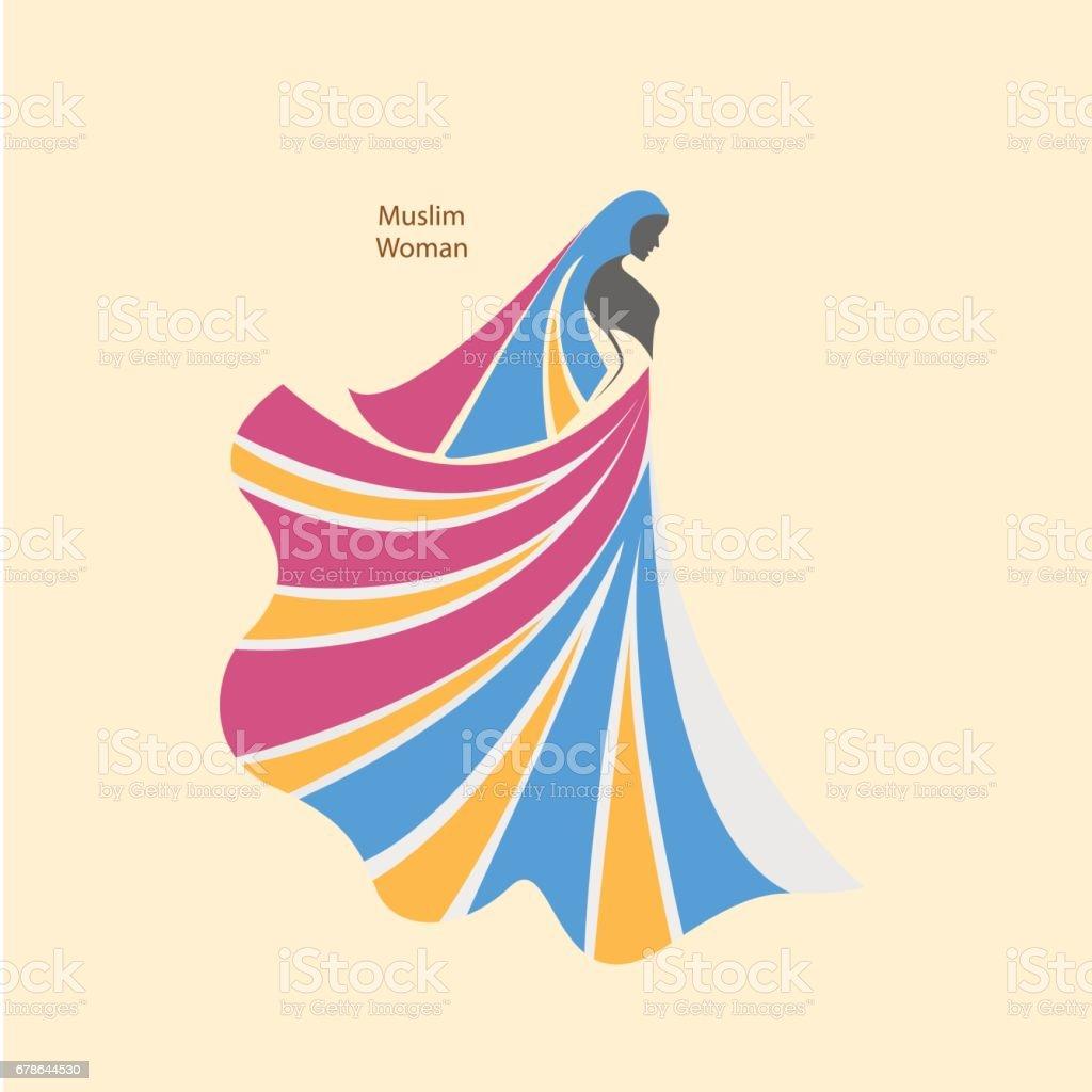 arabic hijab for beautiful woman islam logo design stock