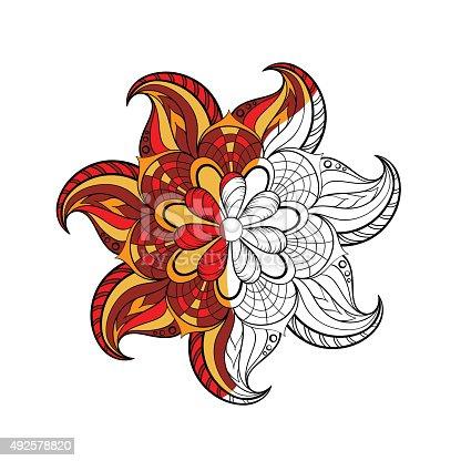 istock Arabic, Indian round Mandala for adult colori 492578820
