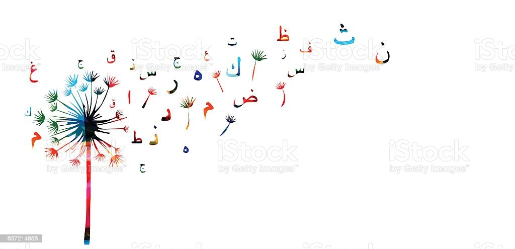Arabic Islamic calligraphy symbols with dandelion vector illustration