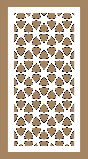 Arabic islamic decorative wall, screen, panel pattern with stars. Vector template kit. Set of decorative vector panels for laser cutting. Template for interior partition in arabesque style