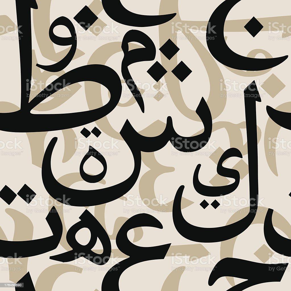 Arabic Letters Seamless Pattern vector art illustration