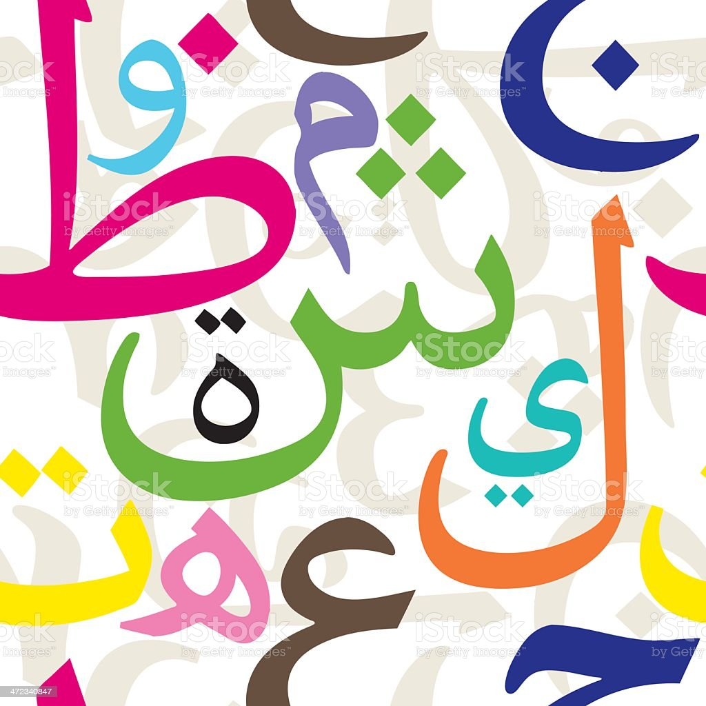 Arabic Letters Seamless Pattern vector art illustration