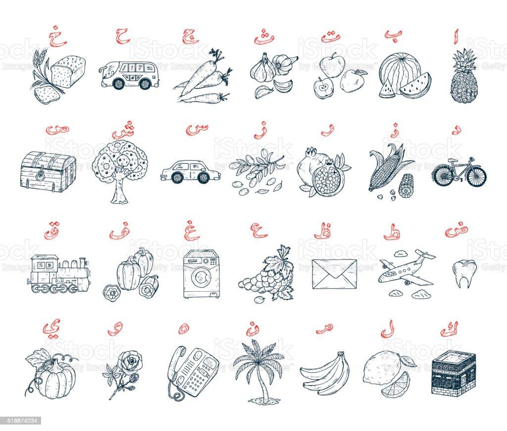 Lettere Alfabeto Da Copiare lettere arabe con disegni alfabeto arabo pagina da colorare