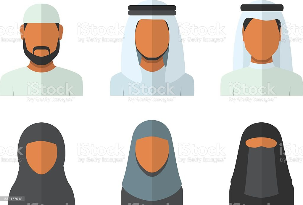 Arabic man and woman set vector art illustration