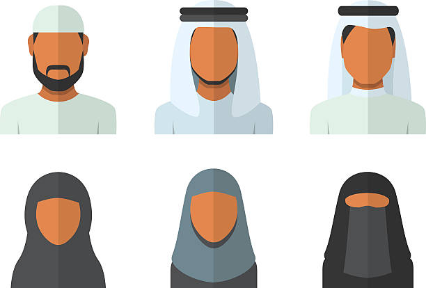 arabic man and woman set - emirati woman 幅插畫檔、美工圖案、卡通及圖標