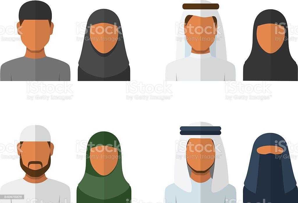 Arabic man and woman set vector art illustration