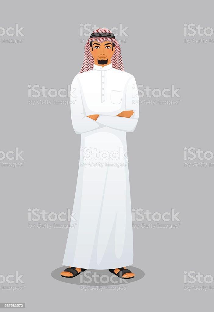 Arabic man character image vector art illustration