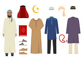 Arabic man clothes. National islamic fashion of male costumes wardrobe items muslim iranian and turkish sultan vector illustrations