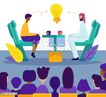 Arabic Businessman Conduct Negotiations at Table with Businesswoman or Work Candidate Discussing Innovation Ideas in Front of Huge Human Audience in Business Center. Cartoon Flat Vector Illustration