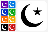 Arabic Moon and Star Icon Square Button Set. The icon is in black on a white square with rounded corners. The are eight alternative button options on the left in purple, blue, navy, green, orange, yellow, black and red colors. The icon is in white against these vibrant backgrounds. The illustration is flat and will work well both online and in print.