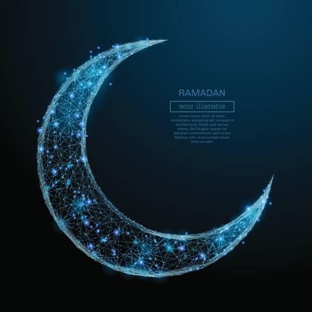 Arabisch-Mond low-Poly blau – Vektorgrafik