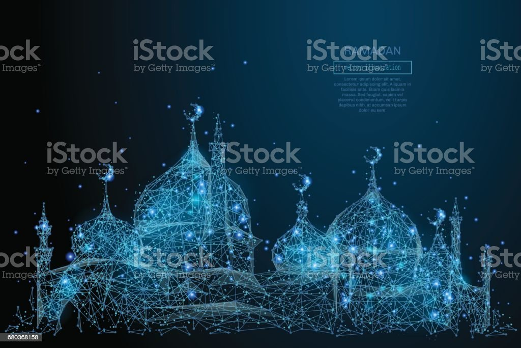 arabic mosque low poly blue vector art illustration