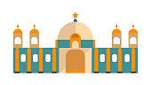 Arabic mosque, masjid building icon
