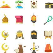 Arabic muslim culture vector icons. Arabian ramadan kareem Eid Mubarak holiday design