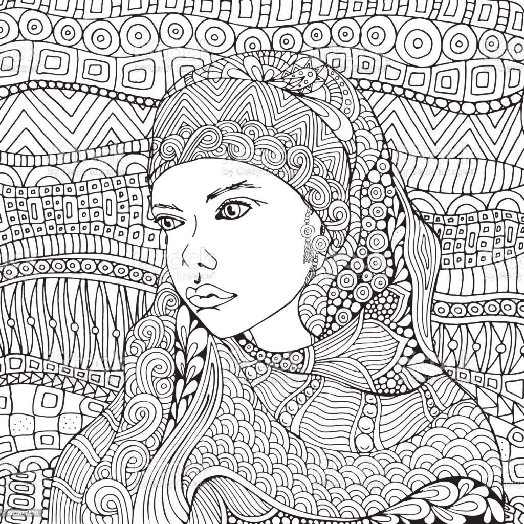Femme Musulmane Arabe Hijab Page De Livre De Coloriage Pour Adulte