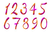 Arabic numerals set 1-10. Colored figures on a white background.