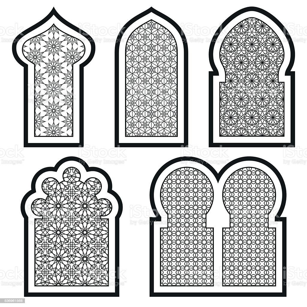 Arabic or Islamic windows set. Vector illustration. vector art illustration