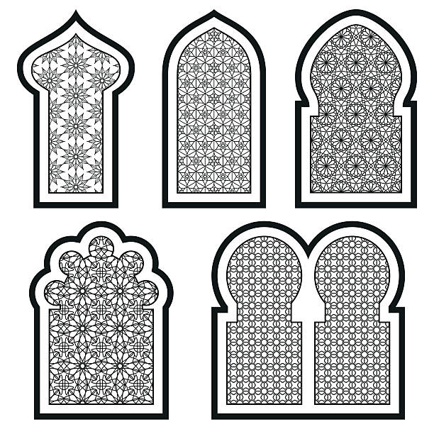 arabic or islamic windows set. vector illustration. - architecture borders stock illustrations