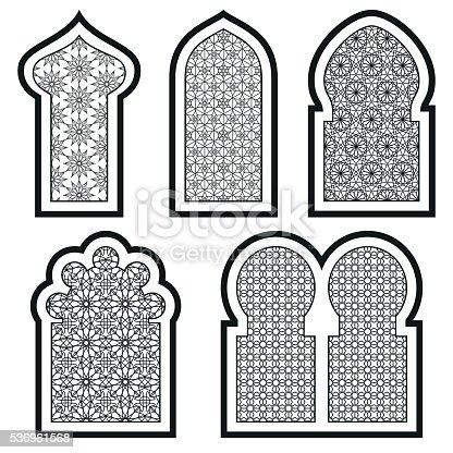 Arabic Or Islamic Windows Set Vector Illustration Stock