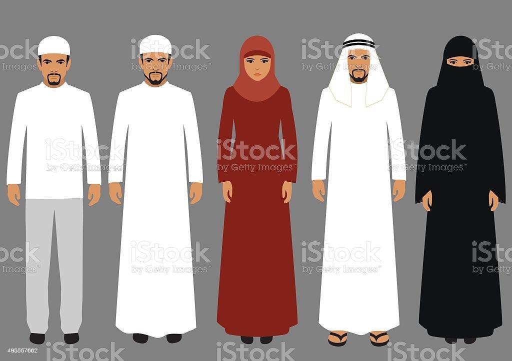 arabic people vector art illustration