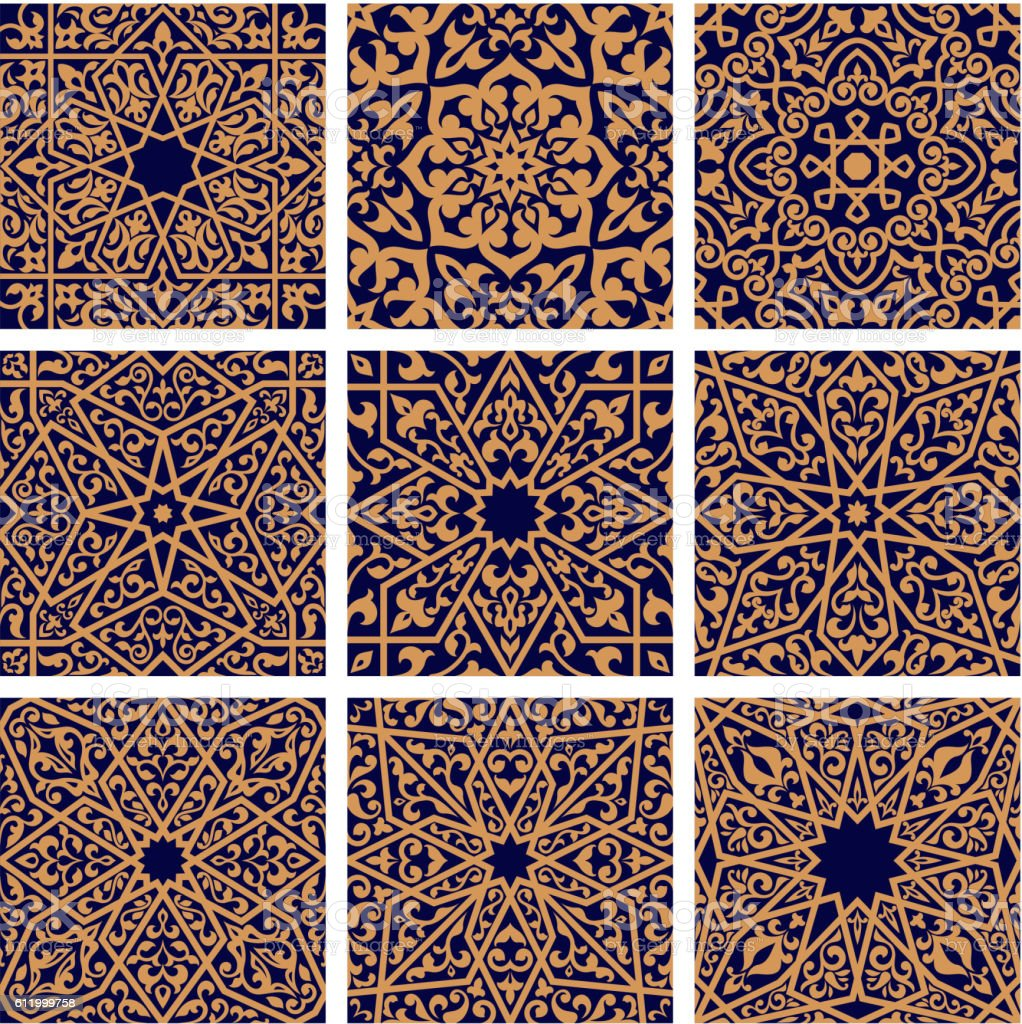 Arabic seamless floral pattern set for tile design vector art illustration