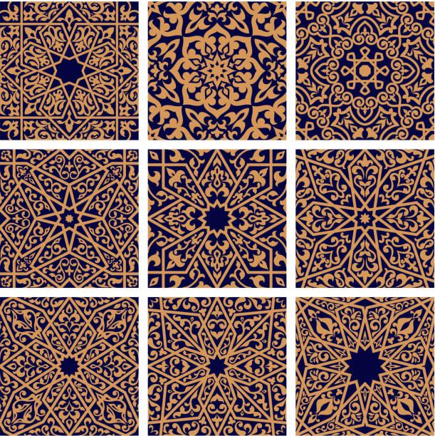 Arabic seamless floral pattern set for tile design vector art illustration