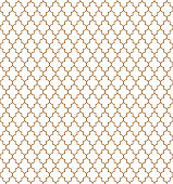 Arabic golden pattern. Turkish vector seamless texture. Muslim background. Islamic window grid design of lantern shapes tiles.