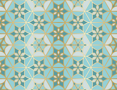Arabic seamless pattern. Traditional Islamic mosque window with gold grid mosaic