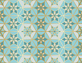 Arabic seamless pattern. Traditional Islamic mosque window with gold grid mosaic. Vector illustration.